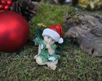 Baby Christmas Fairy Deep in Thought+Fairy Garden Miniature+Fairy Garden Figurine+Fairy Garden Christmas+Fairy Garden Supplies+Fairy Garden