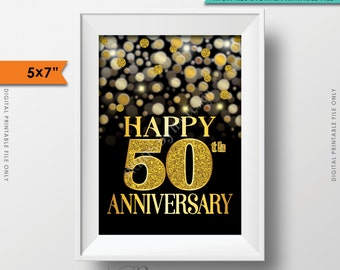 """50th Anniversary Card Black & Gold Glitter 50th Golden Fiftieth Anniversary Card Black and Gold Glitter Instant Download 5x7"""" Printable Sign"""