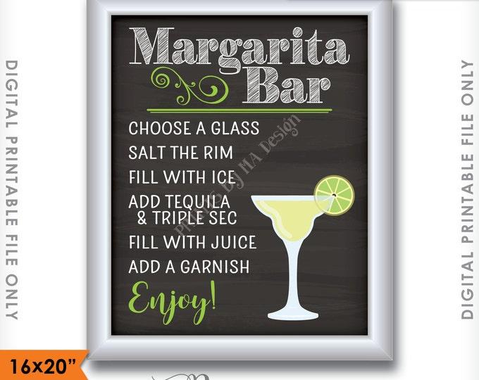 "Margarita Bar Sign, Make your own Margarita, Salted Rim Tequila & Triple Sec, Wedding Chalkboard, 16x20"" Instant Download Digital Printable"