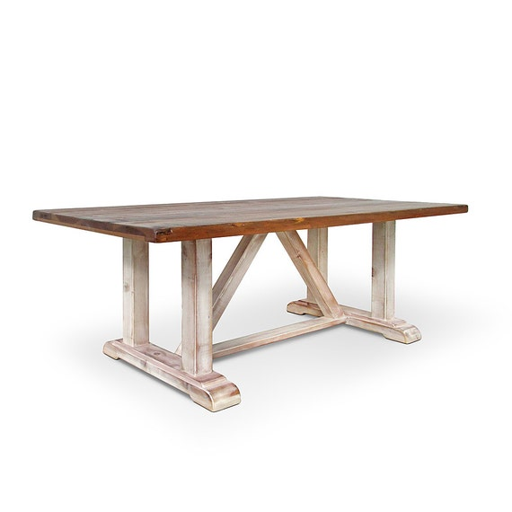 Table Dining Table Reclaimed Wood Trestle Table Kitchen