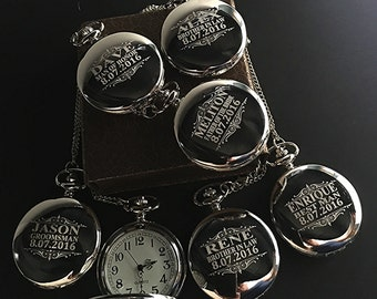 8 Groomsman gifts-Silver laser engraved pocket watches - 8 silver finish pocket watches -Personalized engraved gift -Silver Wedding gift