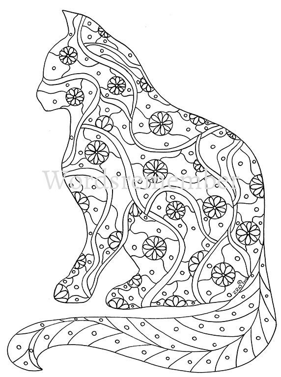 cat coloring page coloring pages adult coloring by