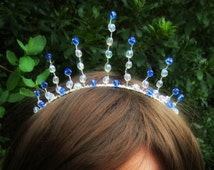 Tiara, Crown, Ice Princess Tiara, Queen Crown, Costume, Dress Up, Bridal, One of a Kind, Halloween, Wire, Pageant, Crystal Tiara