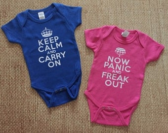 Twin Onesies. Keep Calm. Funny shirts.