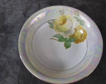 Antique R.S. & Co Luster China Serving Bowl - Yellow Roses - Bavaria