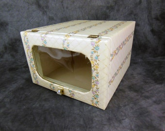 Quilted Closet Box With Window and Hinged Door - Vintage