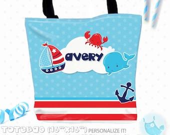 SALE coastal Personalized Tote Bags, custom Tote bag, kids tote, school tote, kindergarten tote, beach tote bag, Tote Bags TB134