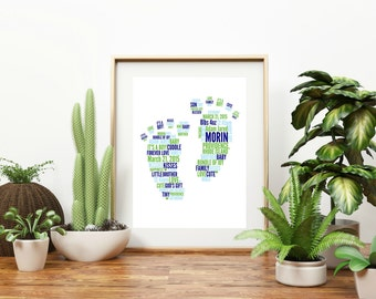 """Personalized """"Baby's Footprints"""" Wall Art"""
