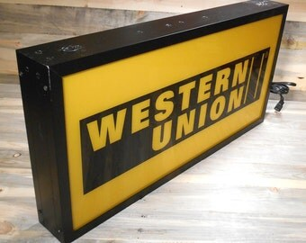 Vintage Western Union Electric Lighted, Double-Sided Advertising Sign