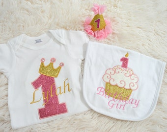 3 Piece First Birthday Baby Girl Outfit-Baby Girl Birthday Outfit- One Crown Birthday Outfit-Crown Birthday Outfit-Birthday Girl Outfit