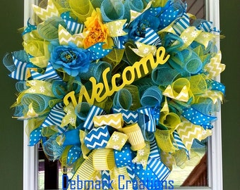 Front door wreath, Spring wreath, Summer wreath, Mesh wreath, Blue and yellow wreath