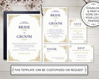 DIY Printable Wedding Invitation Template | Kit | Vintage | Antique | Gold | Navy | Art Deco | Gilded | INSTANT DOWNLOAD - Microsoft Word