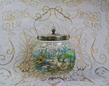 """Sandland Ware Biscuit Barrel Crinoline Lady """"In an Olde World Garden"""" Ceramic Cookie Jar EPNS Lid Lancaster & Sandland Made in England"""