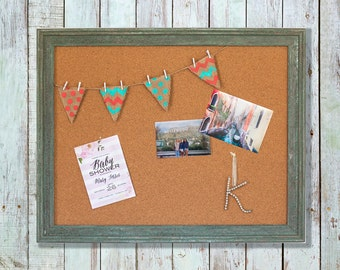 Framed Bulletin board, Message Board, Cork Board, Farm House Decor, Office Decor, Shabby Chic, Distressed wood frame, large memo board