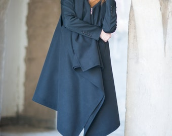 Womens coat, Women's Clothing, Dresses, Cashmere coat, Plus Size Clothing, Asymmetryc Sleeveless Black Zipper Cashmere Coat by EUGfashion
