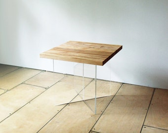 FLAT coffee table / side table handmade from solid wood / acrylic glass / blackened steel / natural oil
