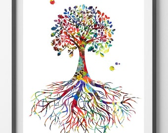 Tree Of Life symbol watercolor print Rooted Tree Of Life poster tree rooted in the earth illustration tree of life art print Wall Art [912]