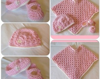 Baby Girl's Poncho Layette Set w/Hat and Mary Janes