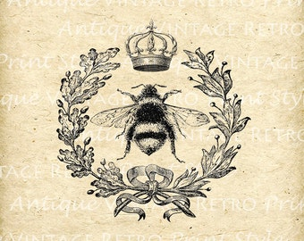 Vintage QUEEN BEE Digital Black Printable Picture Clip Art Graphic French Wreath 1800s Instant Download Clip Art Iron on Transfers No.30010
