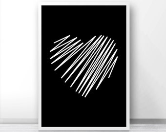 Heart Wall Art Print, Black And White Print, Digital Download Art, Heart Wall Art Printable, Digital Art, Home Decor Art, Modern Art Print