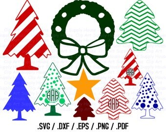 Christmas Tree Clipart, Christmas Monogram Frame, Christmas Tree SVG File, Vinyl Cutter, Screen Printing, Silhouette Die Cut Machine - CA338