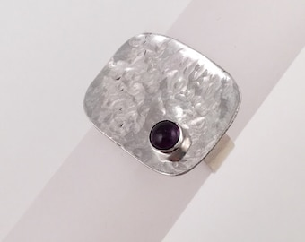 Hammered Silver with Amethyst, Size 7