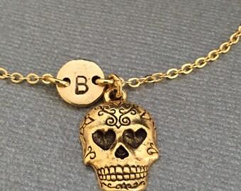 Sugar skull charm bracelet, sugar skull charm, adjustable bracelet, skull, personalized bracelet, initial bracelet, monogram