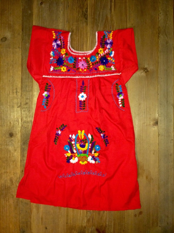 Mexican 4t red tunic embroidered flowers girls dress