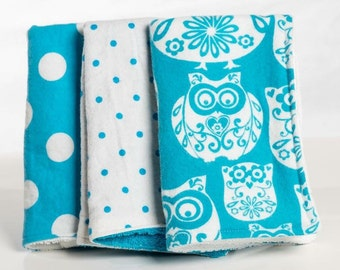 Blue owl and poka dot baby girl burp cloths