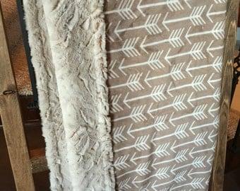 Arrows Faux Fur Throw Blanket- Choose Your Size Blanket- Boho Chic Blanket- Archer-Tribal Blanket
