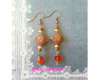 Luck Good Fortune Happiness Blessing Character Earrings