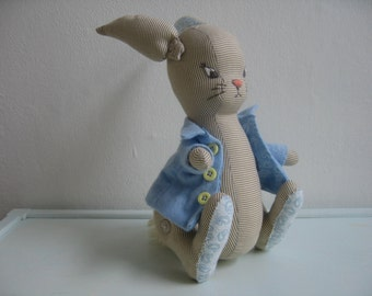 Handmade and unique Peter Rabbit toy (movable arms, legs and ears, jacket can be taken off)