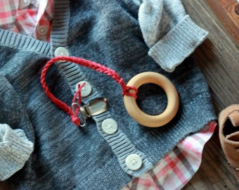 Red Braided Leather Suede Binky/Toy/Teether Clips