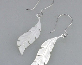Silver Feather Earrings, Sterling Silver Feather Dangle Earrings, Silver Laser Cut Earrings, Silver Feather,  Bridesmaid Earrings