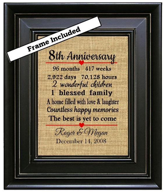Eighth Wedding Anniversary Traditional Gift: FRAMED 8th Wedding Anniversary Gift/8th Anniversary Gifts/8