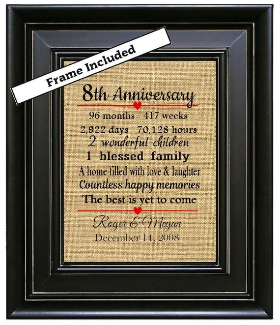 Gift Ideas For 8th Wedding Anniversary: FRAMED 8th Wedding Anniversary Gift/8th Anniversary Gifts/8