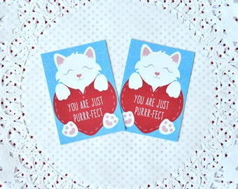 Printable Mini Kitten Valentine's Cards: cut and print miniature cards, kitty holding hearts, blue and red, boy or girl, paw prints- LRD008V