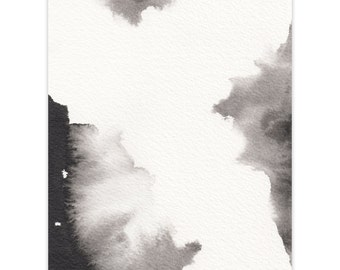 Original Ink Painting Small A6 - Abstract Black Ink Wash