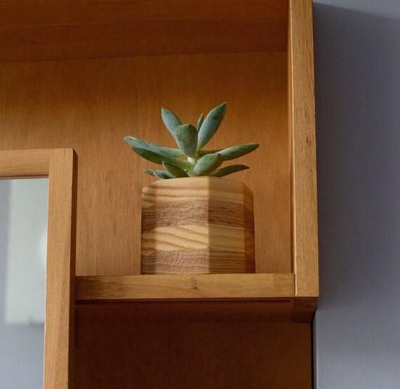 Wood planter geometric octagon succulent pot by for Wooden cactus planter
