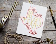 Long Distance Watercolor Card, Original Hand-Painted Watercolor Card, Texas Card