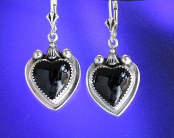 Black Onyx Heart Sterling Silver Earrings