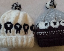 Hand knitted sheep hats made with Shetland Aran.