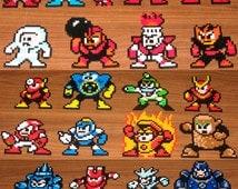 Original MegaMan Inspired Perler Magnets, Keychains, Coasters, Charms, Party Favors, Sprites  | Nintendo Mega Man Dr. Light Dr. Wily