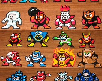 Original MegaMan Inspired Perler Magnets, Keychains, Coasters, Charms, Party Favors, Sprites  | Nintendo Mega Man Dr. Light Dr. Wily