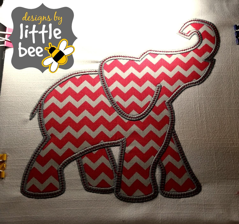 Elephant Silhouette Profile Like Alabama Or Bama Applique