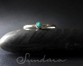 Turquoise 3mm Cabochon Stacking Ring