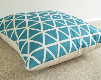 Teal Triangles Geometric/Scandin  Side Print Cotton Linen Floor Cushion/pillow Cover 26 x 26""