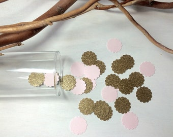 1,000 Pink & Gold Glitter Confetti | Scalloped Confetti | Bridal Shower | Table Decor | Wedding | Baby Shower | Baby Girl | Princess