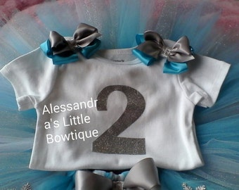 silver and turquoise personalized first birthday shirt, first birthday outfit, silver birthday shirt, personalized onesies, frozen birthday