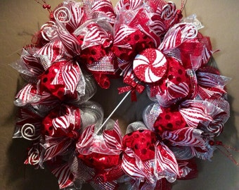 Candy stripe Christmas wreath - Large